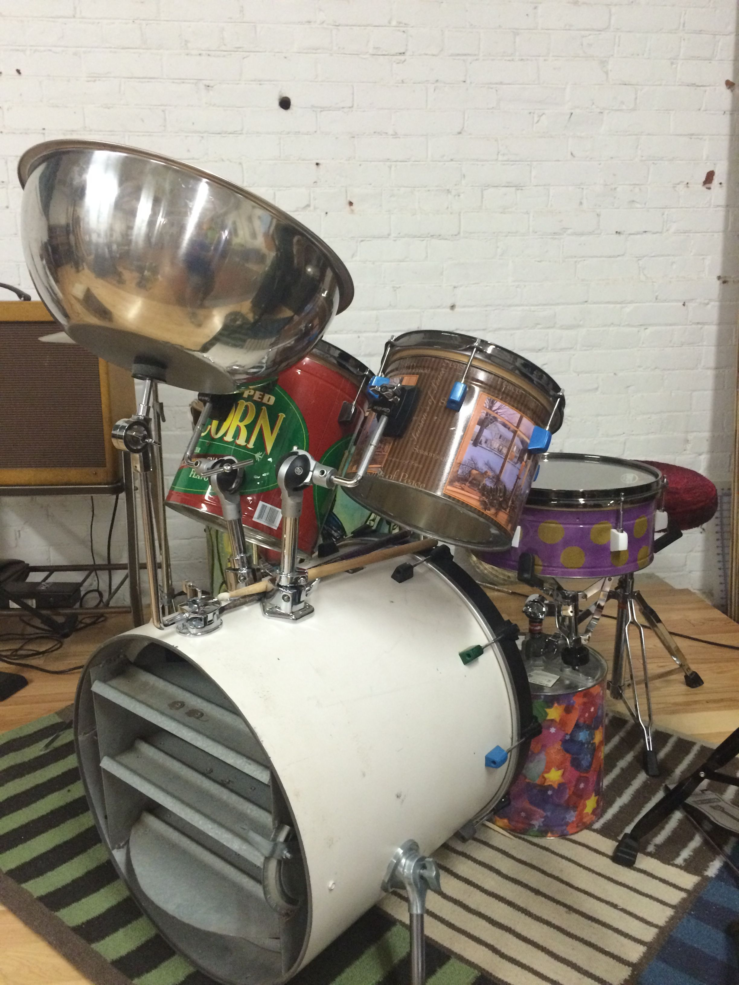 Recycled Drum Set Made With A Ventilation Shaft, Pop Corn