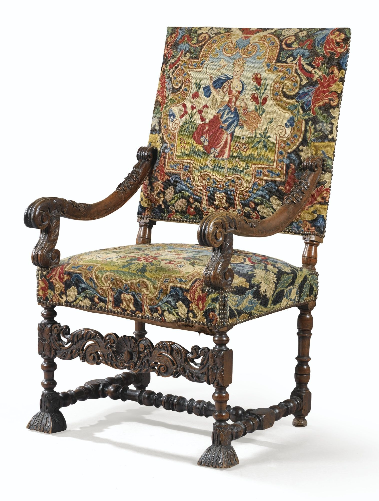 fauteuil dossier plat en noyer sculpt d 39 poque louis xiv vers 1680 lot sotheby 39 s when. Black Bedroom Furniture Sets. Home Design Ideas