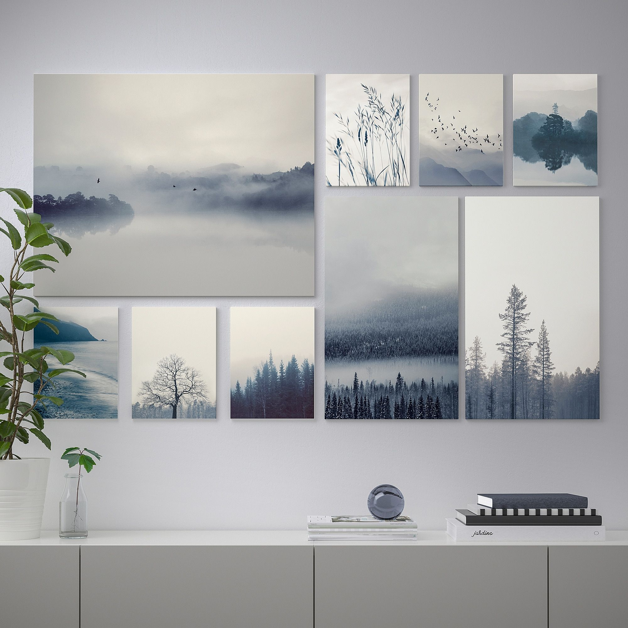 Gronby Picture Set Of 9 Blue Landscape 70 X44 Ikea Wall