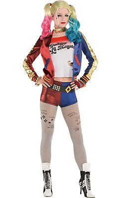 Adult Kids Harley Quinn Suicide Squad Halloween Cosplay Party Bomber Jacket Top
