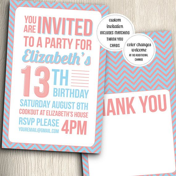 Birthday Party Invitation for Teenage Girl (with Thank You Notes ...