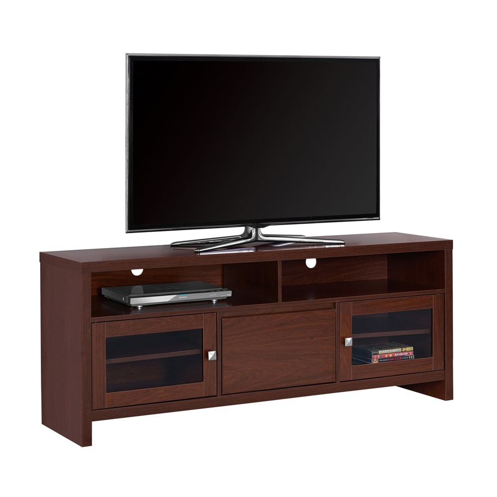 TV Stand with Glass Doors - Warm Cherry- EveryRoom, Red