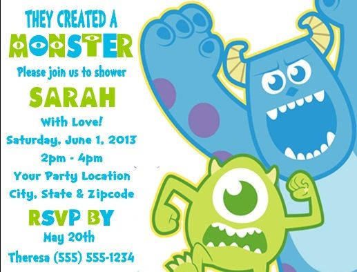Monsters inc baby shower party invitations custom personalized monsters inc baby shower or birthday party by danniscutecreations filmwisefo Image collections