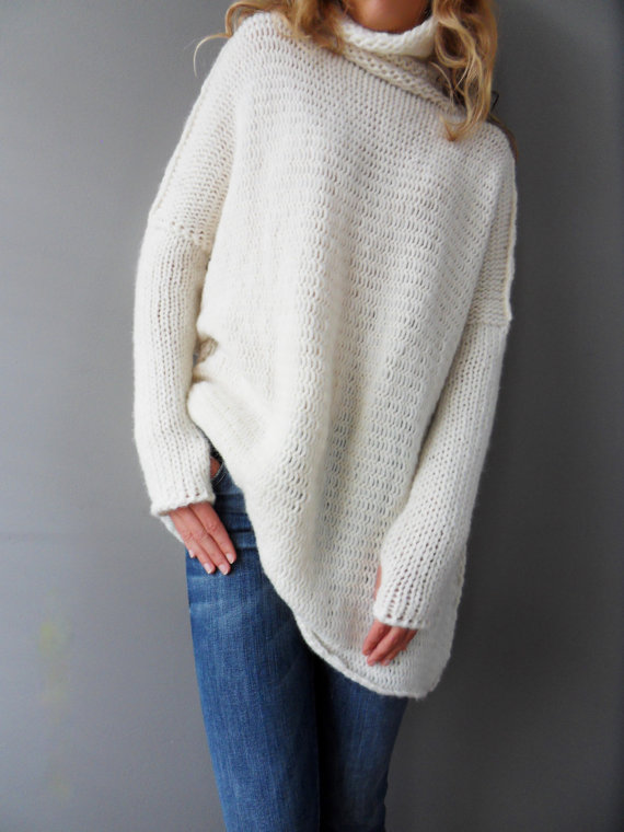 4d55dd993e000b Oversized Slouchy Loose knit sweater. Chunky knit women sweater.Off white  Alpaca blend sweater.Thumb holes