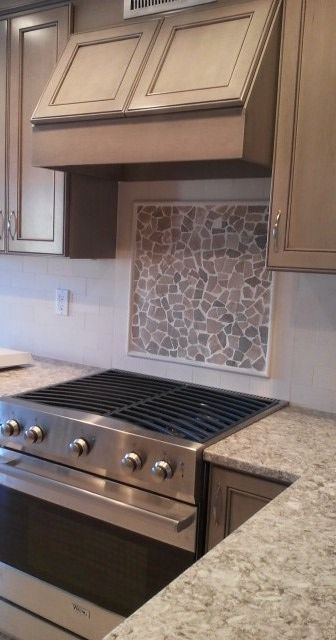 Red Mosaic Tile Mosaic Backsplash Kitchen Trendy Kitchen
