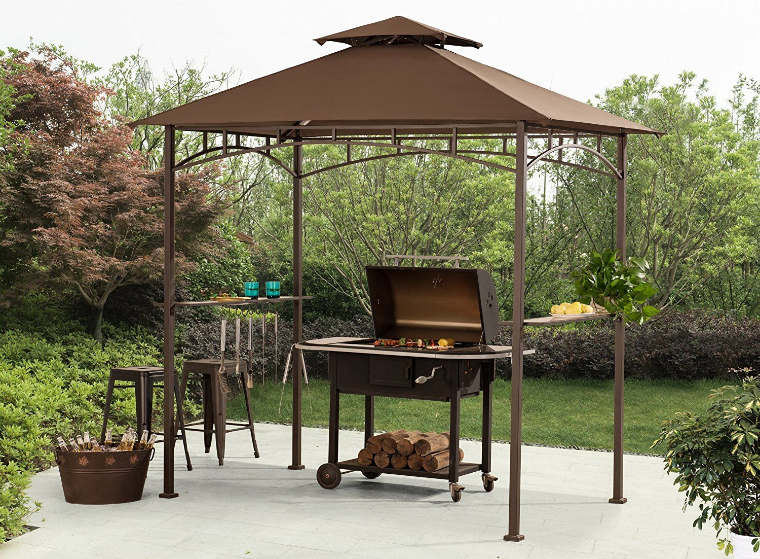 Amazon Com Sunjoy 8 X 5 Soft Top Grill Gazebo With 4pcs Led Garden Outdoor Grill Gazebo Bbq Gazebo Gazebo
