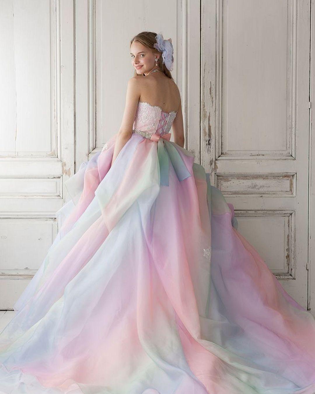 Instagram Rainbow Wedding Dress Pastel Wedding Dresses Rainbow Dress