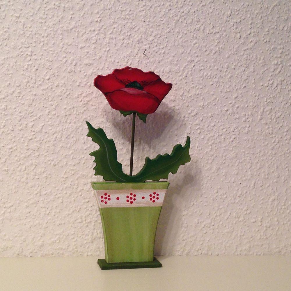 Land Art Blumen Mohnblume Gruner Topf Ca 30cm Handbemalt Neu Mohnblume Blumen Mohn