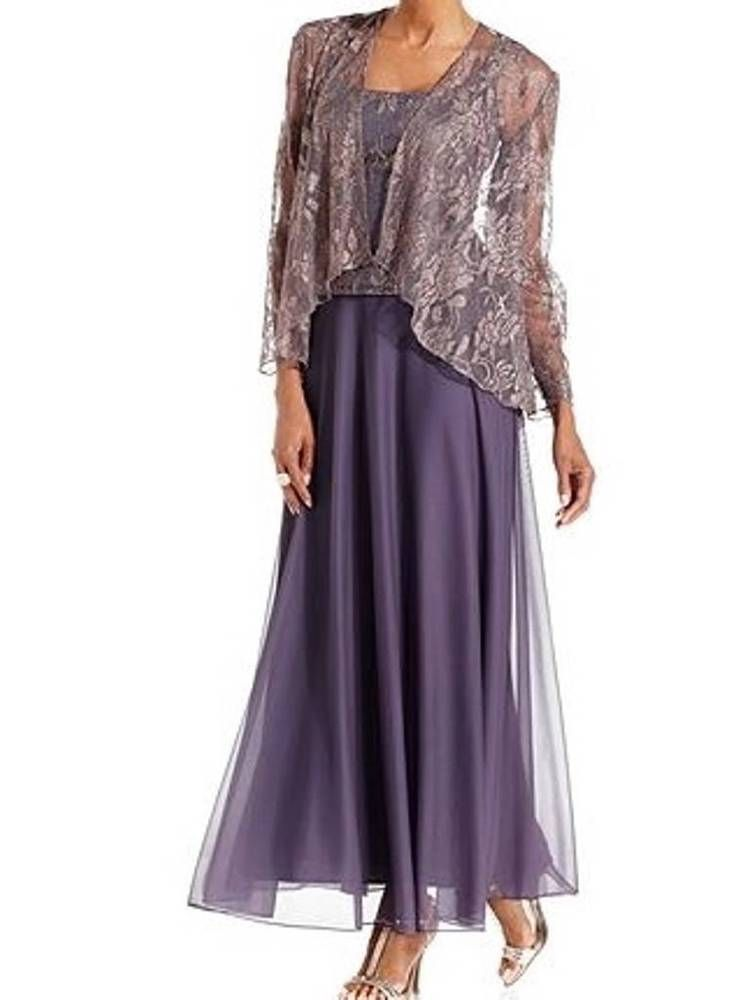 Mother of the Bride Groom Women\'s Metallic Lace Jacket Dress Formal ...