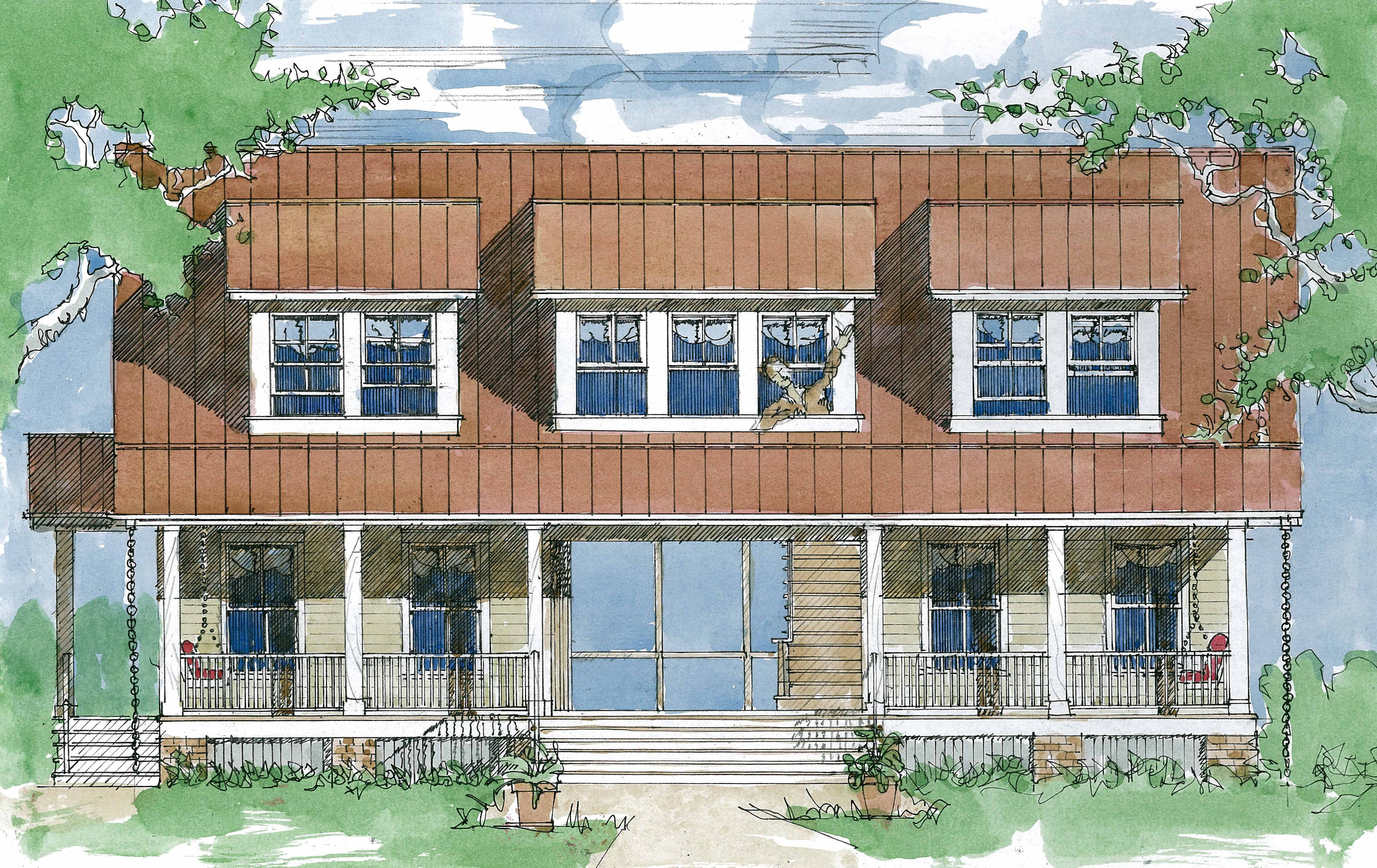 The magnolia dogtrot plans available from hot humid for House plans com classic dog trot style