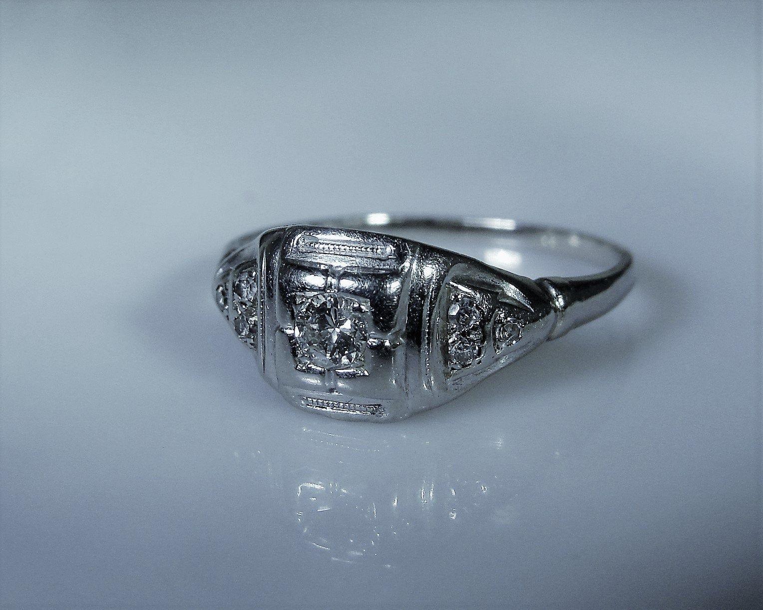 18K White Gold Diamond Ring, 1920s Art Deco Ring, .25 TCW