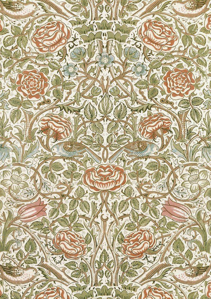 William Morris, Rose textile. Block-printed cotton (1883) | papeles ...