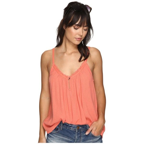 Roxy Perpetual Dream Tank Top (Georgia Peach) Women's Sleeveless ($33) ❤ liked on Polyvore featuring tops, deep v neck tank top, red singlet, keyhole top, cotton tank and cotton sleeveless tops