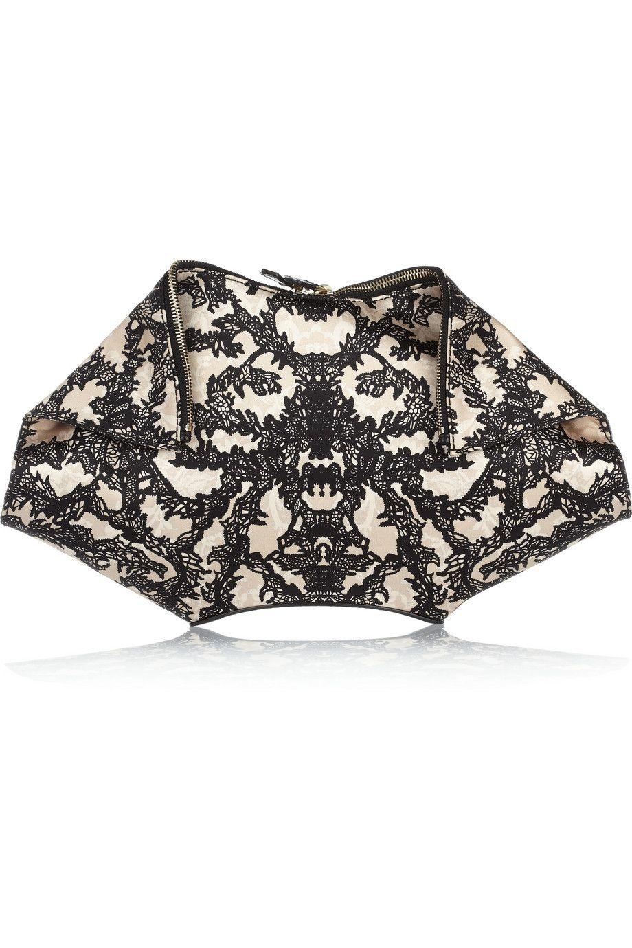 Alexander McQueen - De Manta lace-print satin clutch