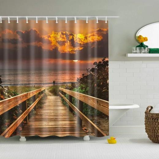Boardwalk Sunrise Fabric Shower Curtain In 2020 Beach Shower