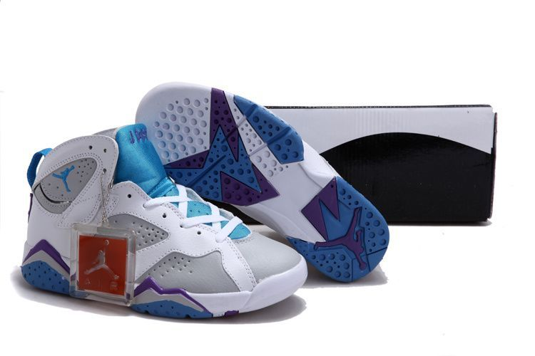 b2d20643543fda jordan retro 7 white french blue grey Women Air Jordan 7 (VII ...