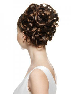 spiral curls pinned to the side
