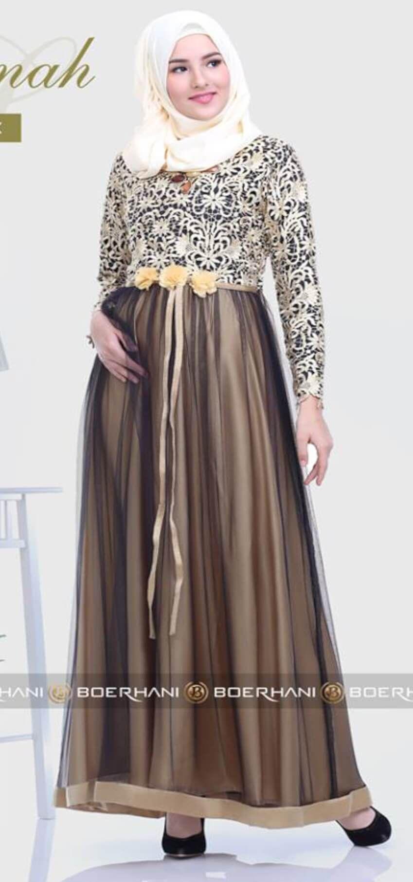 Model baju gamis brokat untuk orang gemuk dan pantas  Wanita