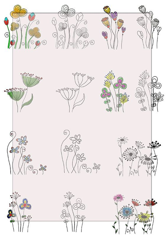 Hand drawn/ Flowers    DiGiTaL CoLLaGe ShEeT/   ScRaPbOoKiNg/JoUrNaL