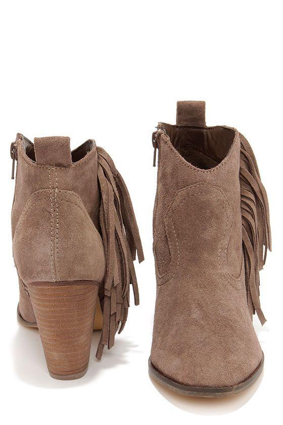 Steve Madden Ponncho Taupe Suede Fringe Ankle Boots