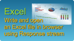 Export and open an Excel file in browser using Response