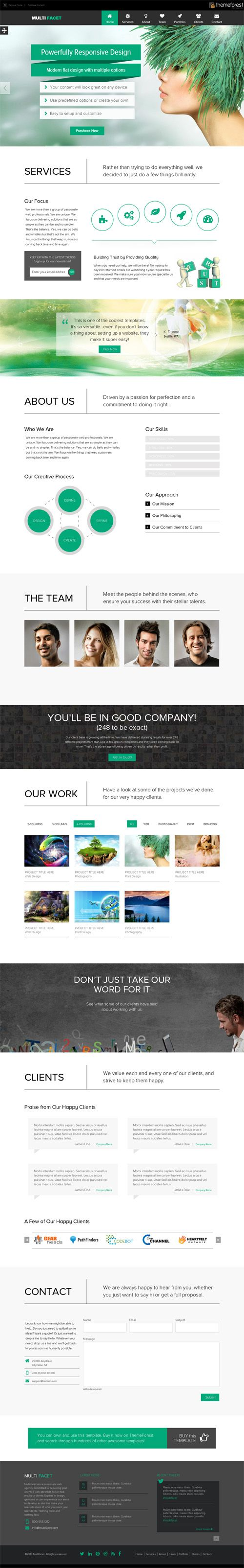 MultiFacet - Responsive One Page Template #flatdesign ...