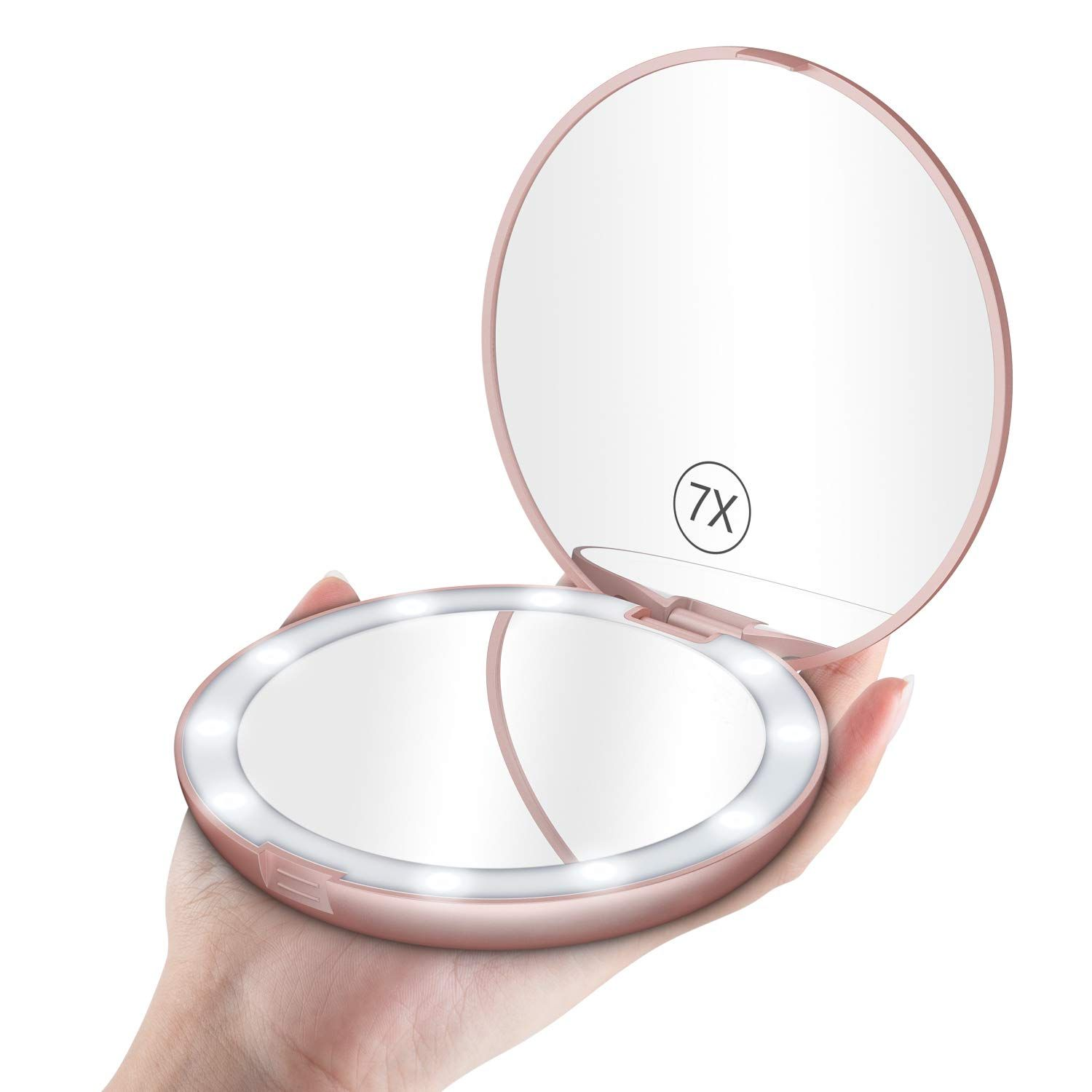 Benbilry Led Lighted Travel Makeup Mirror 1x 7x Magnification 5