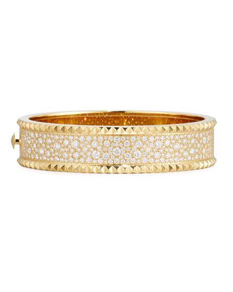 Roberto Coin ROCK & DIAMONDS Medium 18K Yellow Gold Bangle Bracelet f4Az56