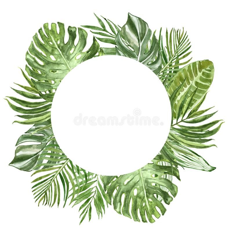 Watercolor Tropical Plants And Leaves Round Frame Palm Leaf Monstera Banana F Aff Leaves Frame Palm Wate Tropical Plants Plant Leaves Palm Leaves