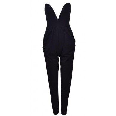 Sweetheart Bustier Pantsuit Black – LilacShade