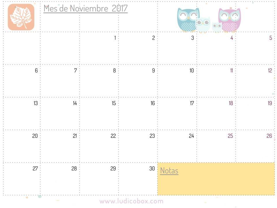 Calendario descargable gratis noviembre 2017 para agenda diy ludiactividades imprimibles - Mes noviembre 2017 ...