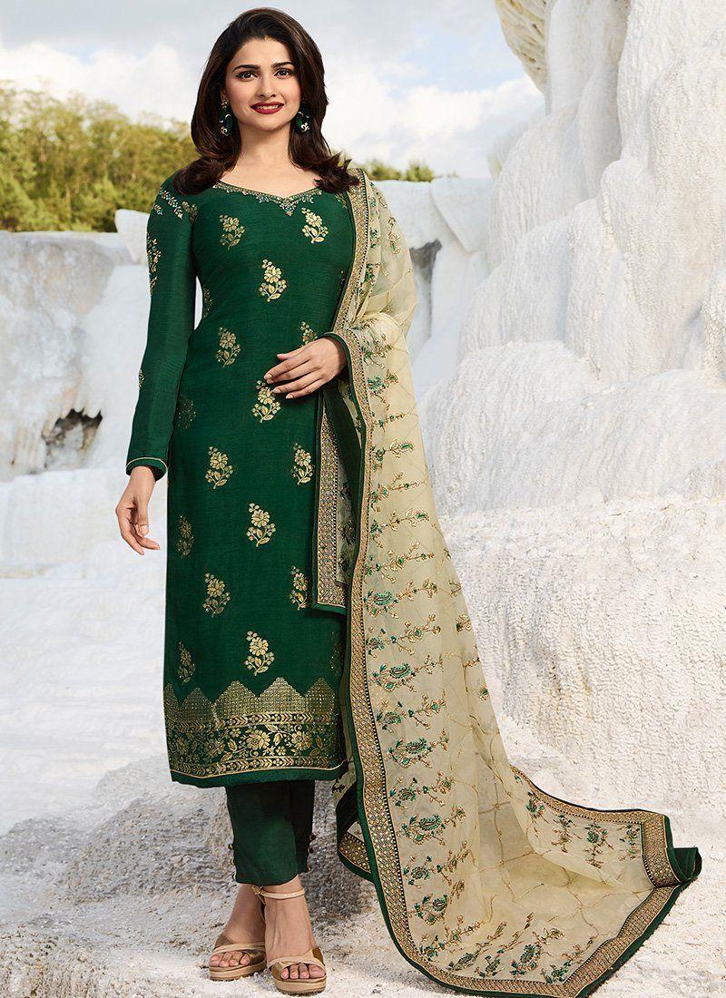 7a6d0c221a Buy Dark Green Prachi Desai Straight Salwar Kameez - Best Quality–Liinara