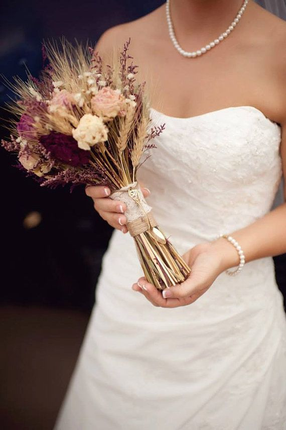 Rustic Burgundy and Pink Wedding Bouquet by SmokyMtnWoodcrafts. I like the wheat