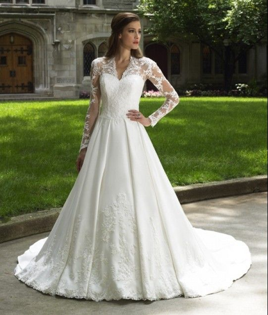 Wholesale Cheap 2014 V Neck Wedding Gown With Lace Sleeves And A Line Chapel