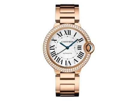 Check out this Ballon Bleu de Cartier watch in pink gold with an automatic dial and diamond and sapphire accents!