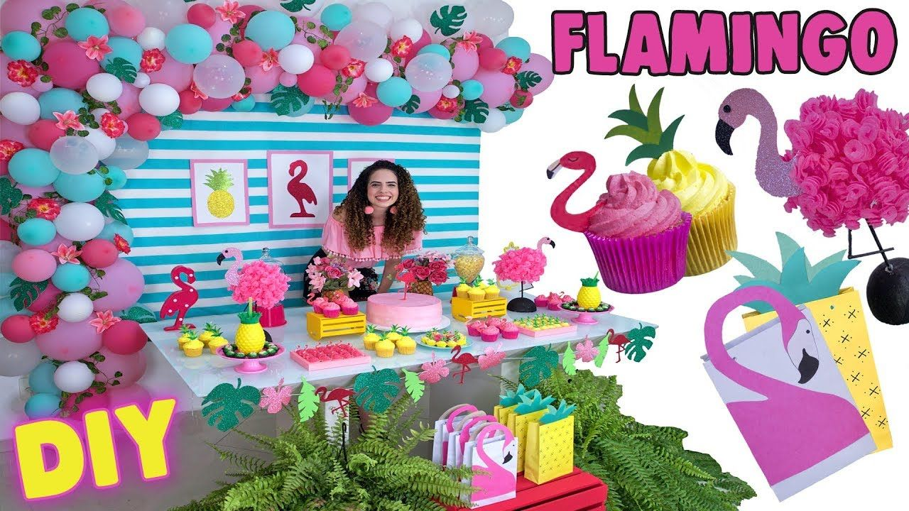 Diy Minha Festa De Aniversario Flamingo Tropical Arranjo De
