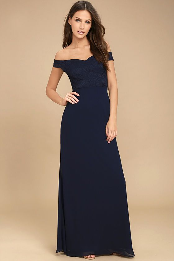 e65cf76e123 Make a stunning impression that will last a lifetime in the Dress to  Impress Navy Blue Lace Off-the-Shoulder Maxi Dress! Elegant lace covers a  sweetheart ...