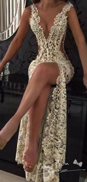 Photo of See-through mermaid with deep v-neck sleeveless lace long evening dresses online, VPPD1473