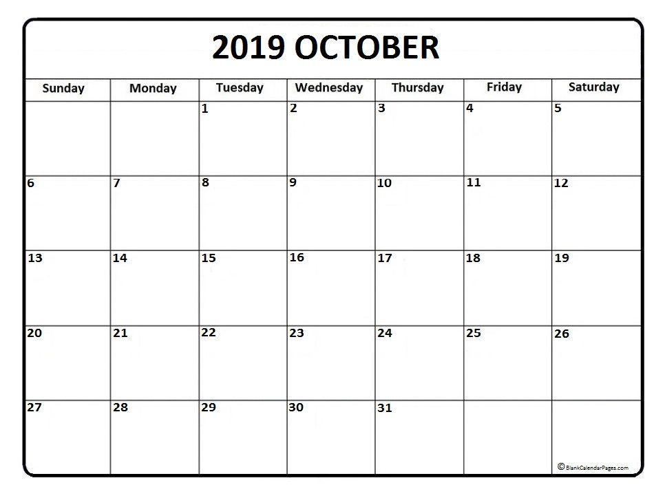 October 2019 Calendar Printable Editable Calendar Monthly