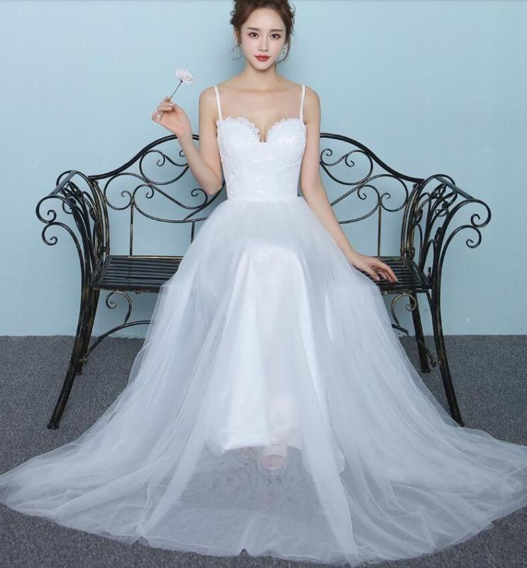 2018 Wedding Party White Dresses Bridal Bra Sling Prom Dress Lace ...