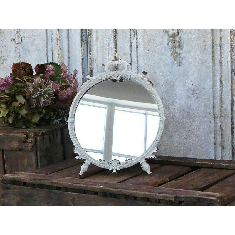 Chic Antique Spiegel Tischspiegel Schminkspiegel Weiss Vintage