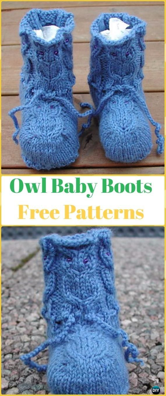 Knit Ankle High Baby Booties Free Patterns Instructions | Baby owl ...