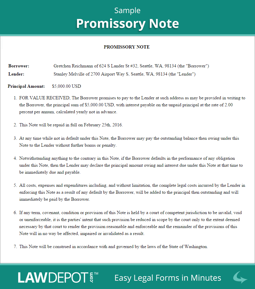 Sample Promissory Note  Business    Promissory Note