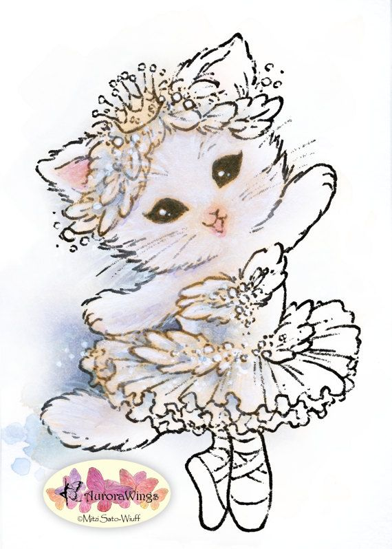 Digital Stamp Swan Lake Ballerina Kitten Ballet by AuroraWings ...