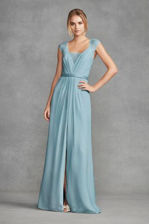 Illusion Cap Sleeve Crepe Bridesmaid Dress VW360377 | bridesmaids ...