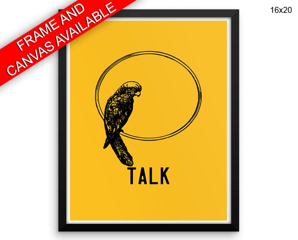 Parrot Printed Poster Talk Framed Parrot Bedroom Art Talk Bedroom ...