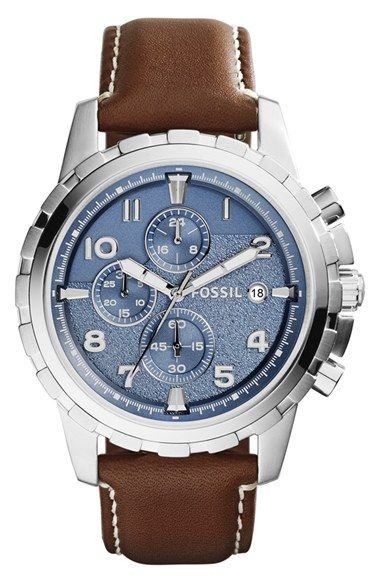 89731175690c Fossil  Dean  Chronograph Leather Strap Watch