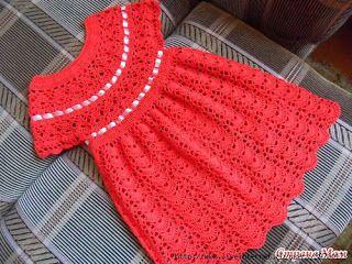 Amei a cor, mas vou dispensar a fita branca.. - - -  FREE DIAGRAM ~ Scorzo Tricroche: Dress Crochet Infant