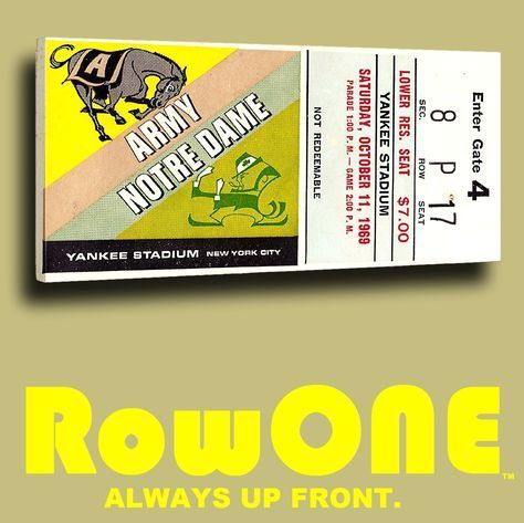 Best Christmas Gifts For Sports Fans 2017 Rowonebrand 1969 Notre Dame Vs Army Ticket Canvas Art By Row One Brand Pinterest
