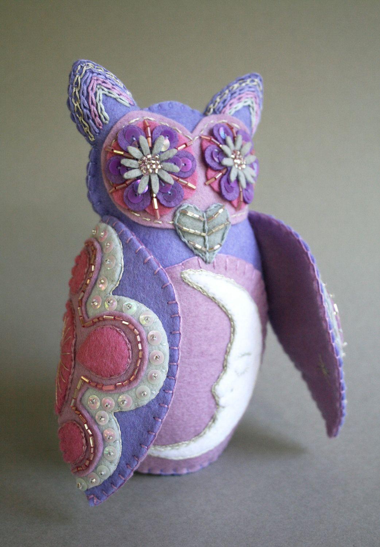 Embroidered Owl - Mexican Folk Art - Loteria - La Luna - The Moon-  Violet - Purple - Lilac - Lavender.